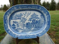 Minton Blue And White Transfer Blue Willow Enormous 19 Earthenware Platter