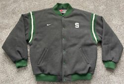 Vintage 90s 2xl Xxl Nike Michigan State Spartans Snap Up Letterman Style Jacket