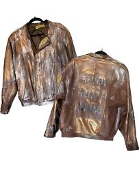 Custom Art To Wear 100 Leather Bomber Jacket Never Trust A Hippie Gold Painted