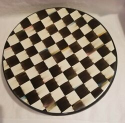 Mackenzie Childs Courtly Check Pedestal Serving Plate Platter Rare 17
