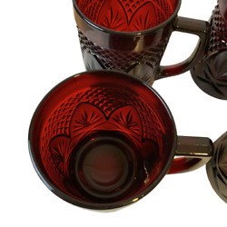 Cristal D'arques Durand Glasses Four 4 Antique Ruby Red Mugs France