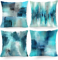 Hexagram Turquoise Grey Decorative Pillow Covers 18 x 18 Inch Blue Teal and Gre