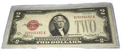 """1928d 2 Two Dollar Bill Red Seal Seal Left Side/bcw """"fancy Bookend""""d28096482 A"""