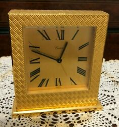 1950and039s Large Gilded Brass Desk Clock