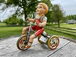 Vintage Circa 1930s Tin Windup Toy - Kiddy Cyclist By Unique Art Mfg Co