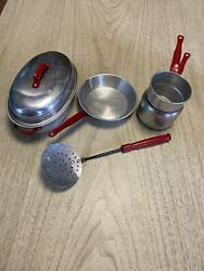 Vintage Aluminum Childs Red Handle Toy Cookware