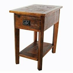 Renew Reclaimed Wood Chair Side Table With 1 Drawer 15w, 1 Shelf And Drawer