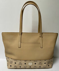 Mcm New Wilder Large Visetos Leather Shopper Tote Latte Beige - Sold Out