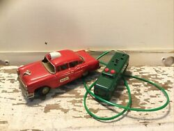 Vintage 1950's Line Mar Japan Battery Remote Control Tin Red Ford Police Car