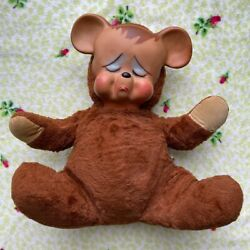Vintage Knickerbocker Pouty Cry Teddy Bear Rubber Face 15 In Tall 1950 Plush Toy