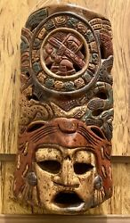 """Rare Retro Mayan Aztec Handcrafted Clay Pottery Warrior Mask Wall Art 18""""x8.5"""""""