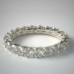 Excellent 2.00 Ct Lab Grown Women Wedding Eternity Band 14k White Gold Size M N