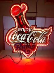 """Rare Coca Cola St. Louis Rams Neon Sign On Metal Grid, 32"""" Tall X 27"""" Wide X 6"""""""
