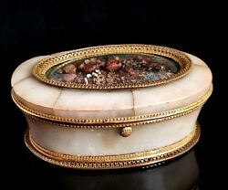 Antique French Jewellery Casket, Alabaster, Ormolu And Dried Flowers