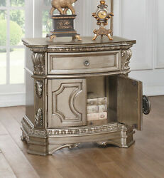 Acme Northville Nightstand With Wooden Top In Antique Champagne Finish 26935