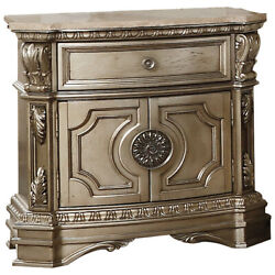 Acme Northville Nightstand With Marble Top In Antique Champagne Finish 26934