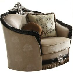Acme Ernestine Chair With 2 Pillow In Tan Fabric And Black Finish 52112