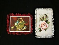 2 Antique Victorian Double Sided, Fringed Easter Greeting Cards