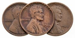 Lot Of 3 Lincoln Wheat Cents 1912-s, 1922-d, 1924-d In Vg Condition, Brown