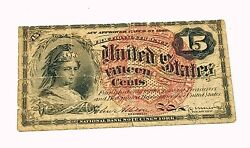 1863 Us Fractional Currency Fifteen Cents Old Us Paper Money Currency
