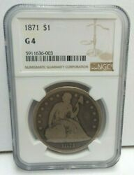 1871 P Us Seated Liberty With Motto - 90 Silver 1 One Dollar - Ngc G 4 - H3089