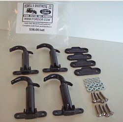 1930 1931 Model A Ford Hood Latch Kit Black Complete With Pads And Screws