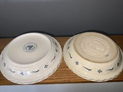 Pair 2 Longaberger Pottery Woven Roseville 10 Inch Pie Plates Ivory White Blue