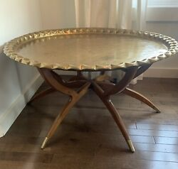 """Vintage 35"""" Mid Century Moroccan Brass Tray Wood Spider Leg Coffee Table"""