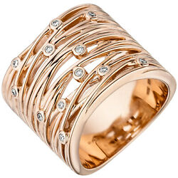 Womenand039s Ring Wide 585 Gold Rose Gold 12 Diamonds 014ct. Ring
