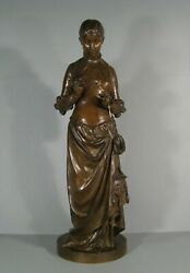 Young Woman Medieval Large Sculpture Bronze Antique Signed Emb And Susse Freres
