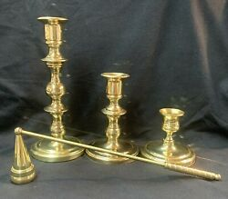3 Baldwin Polished Brass Candlesticks And 1 Snuffer Candle Holders Usa - Lot Of 4