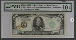 1934 1000 1000 Dollar Federal Reserve Note Bill Chicago Pmg 40 Extremely Fine