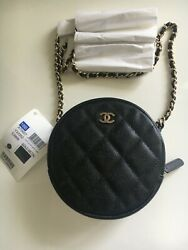 New Women's Designer Classic Round Quilted Clutch With Chain Caviar Black