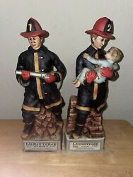 2 Vintage Lionstone Fireman Whiskey Decanters Fire Fighter Pair