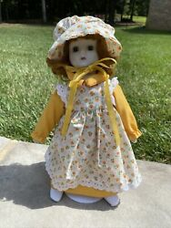 1982 Schmid Musical Porcelain Doll Yellow/orange Lace Dress Doll With Hat 14