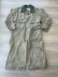 Vintage Filson Waxed Tin Cloth Trench Duster Coat 44 Xl