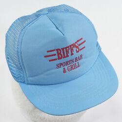 Biff's Sports Bar And Grill Hat Blue Vtg Silkscreen Snapback Back To The Future