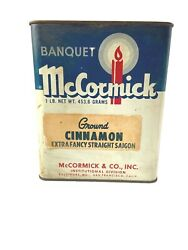 Vintage Mccormick Tin 1 Pound Banquet Brand Size No Lid Good Condition Display