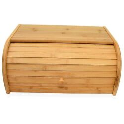 3xnatural Bamboo Bread Boxes For Kitchen Counter Roll Top Large Bread Box