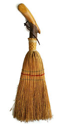 Antique Carved Natural Wood Straw Hearth Whisk Broom Bird Parrot 23 Inches