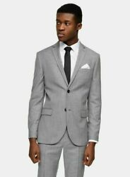 Topman Grey Skinny Fit Single Breasted Suit Blazer Mens Size 40 R New