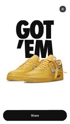 Off White X Nike Air Force 1 Ica In Hand Sz 9.5 University Gold