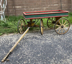Antique Coaster Wagon Wood And Rubber Wheels Early 19th C Childs Ride On Toy