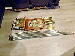 Vintage Colonial / Jauch 5 Tube Grandfather Clock Complete Set Chain Pull