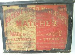 Antique Diamond Match Steel Match Safe Large Tin-barbers Drawing Room Matches-