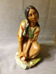 Vintage 1980 Universal Statuary Native American Indian Girl At Brook Statue