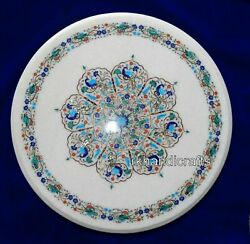 Vintage Art And Crafts Dining Table Top Round Marble Hotel Table Size 42 Inches