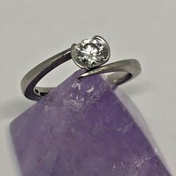 Palladium And Diamond Solitaire Ring - 0.42ct - Size L - Weight 3.17g - Uk Made