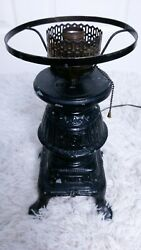 Rare Vintage Cast Iron Pot Belly Stove Table Lamp Electric