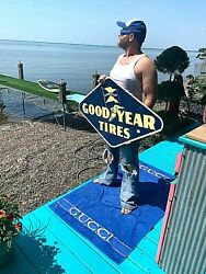 Vintage Rare 1948 Goodyear Tire Porcelain Diamond Gas Gasoline Sign 2sided